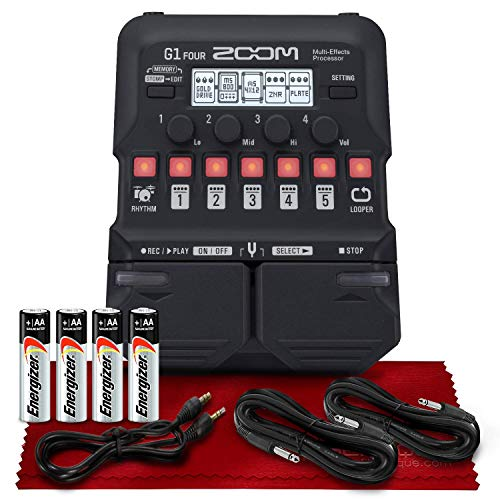 Zoom G1 Four Guitar Multi-Effects Processor + AA Batteries, Cables and Fibertique Microfiber Cleaning Cloth
