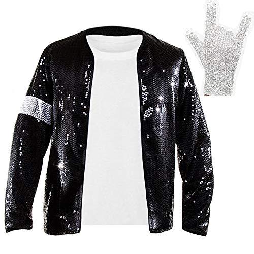 Gn2u Michael Jackson Jacket Billie Jean Armband Sequin Jacket with Diamond Shining Crystal Glove (L) Black -