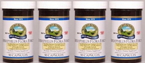 Système digestif Naturessunshine Bifidophilus Flora Force de soutien 90 Capsules (pack de 4)