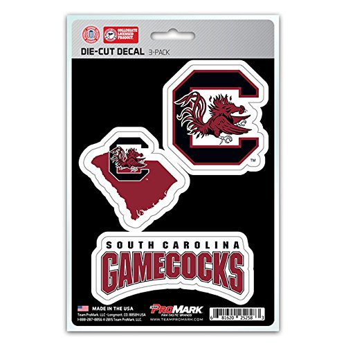 NCAA South Carolina Fighting Gamecocks Team Decal, 3-Pack