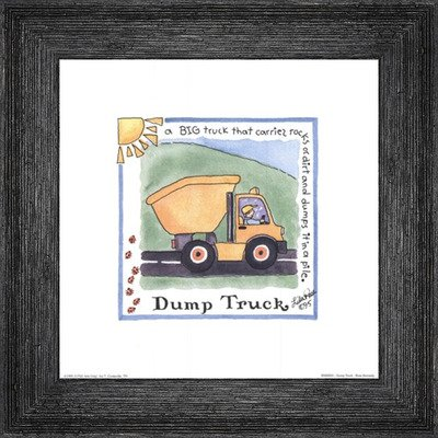 Poster Palooza Framed Dump Truck- 8x8 Inches - Art Print (Black Barnwood Frame)
