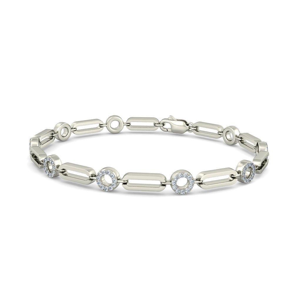 8 inches identification-bracelets Size 14K White Gold IJ| SI HallMarked 0.49 cttw Round-Cut-Diamond