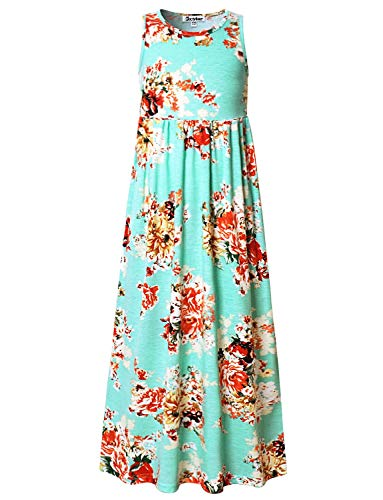 Little Girls Floral Maxi Dresses Elastic Waist Flower Summer Party Long - Dress Summer Girl Flower