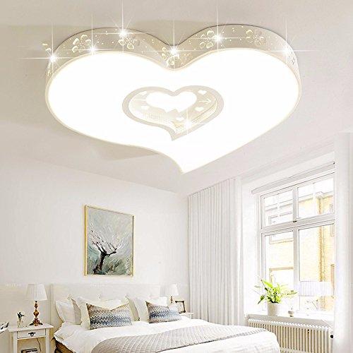LighSCH Luces de techo Minimalista moderno en forma de corazón cálido Habitación matrimonial Habitación Niños Romance son luz sala chica Control Remoto ...