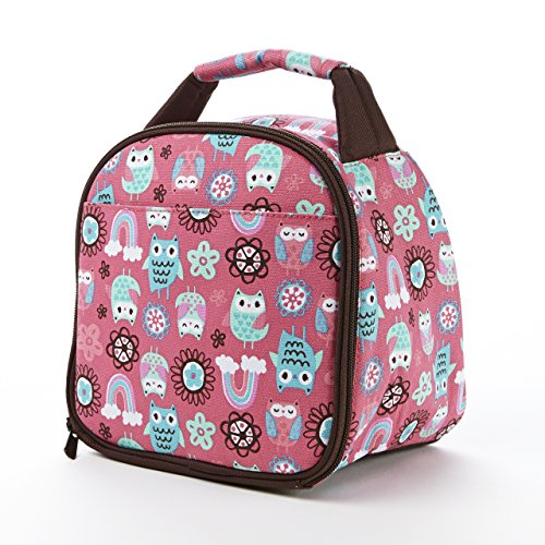 Fit & Fresh Kids' Gabby Insulated Lunch Bag with Exterior Pocket and Full Zip Closure, Versatile School Lunch Box for Girls, Rainbow Owl - Fruit Lunch Bag