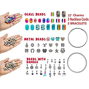 Perfect Unicorn Mermaid Bracelet Making Gifts For Kids Girls, Charms Craft Supplies are great jewelry findings for your clip-on charms, dangle, earrings, bracelet, necklace pendants, keychain, Simple to Use - Unscrew to remove the end cap, After stringing in the beads, simply screw back the end cap tightly. NO TOOL, NO GLUE, NO MESS. Great Gift Idea for Girls:making it a great gift item for girls who like DIY accessories. Also, it can be an entertaining party craft for girls.