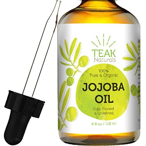 JOJOBA OIL by Teak Naturals, 100% Pure Cold Pressed Natural Unrefined Moisturizer for Skin Hair and Nails 4 oz by Teak Naturals