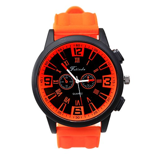 Orange Sports Style Dual Time Silicone Strap Quartz Watch 2 Small Dials Men's Sport Wristwatch One Button Setting