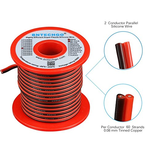 (BNTECHGO 22 Gauge Flexible 2 Conductor Parallel Silicone Wire Spool Red Black High Resistant 200 deg C 600V for Single Color LED Strip Extension Cable Cord,Model,Lead Wire 50ft Stranded Copper Wire)