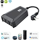 Outdoor WiFi Smart Plug,Outdoor Outlet (1 In 3 Out) Wireless Remote Control Anytime Anywhere,No Hub Required Compatible with Alexa, Google Home,IP44 Waterproof for Indoor and Outdoor Use(Black)