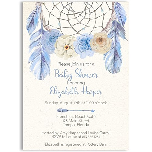 Bohemian Baby Shower Invitations Boho Invites Dream Catcher Dreamcatcher Hippie Sprinkle Feathers Flowers Arrow Hipster Personalize Customize Blue Light Blue Ivory Boys It's A Boy (10 count)]()