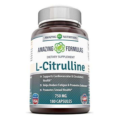 Amazing Nutrition L-Citrulline Dietary Supplement - 750mg - 180 Capsules - Promotes Healthy Circulation and Cardiovascular Health - Supports Sexual Well-Being - Enhances Endurance