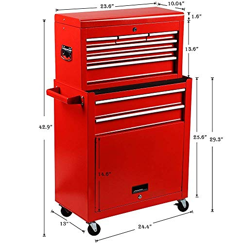 Homestock Portable Tool Storage Box 7-Drawer Rolling Tool Chest Removable Tool Storage Cabinet with Sliding Drawers Keyed Locking System Toolbox Organizer (Red) by Homestock (Image #1)