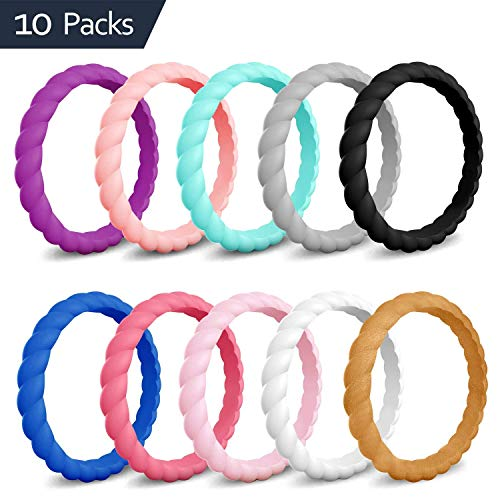 COOLOO Silicone Wedding Ring for Women, [10 Packs] Thin Stackable Braided Rubber Wedding Bands, Antibacterial Comfortable Durable, Affordable Fashion Elegant, Skin Safe