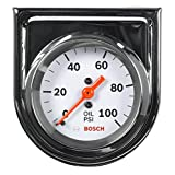 "Bosch SP0F000044 Style Line 2"" Mechanical Oil Pressure Gauge (White Dial Face, Chrome Bezel)"