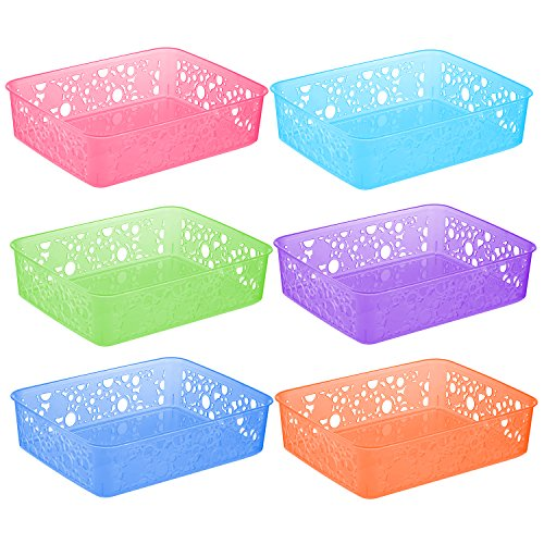 Zilpoo 6 Pack – Plastic Colorful Storage Organization Basket, Bathroom Vanity Makeup Tray, Drawer, Shelf Organizer Bins, Assorted Colors