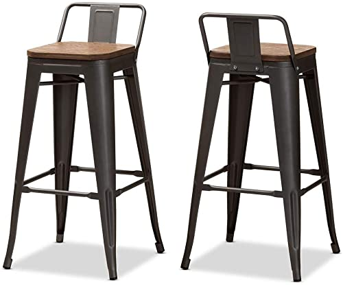 Baxton Studio Henri 30″ Metal Bar Stool