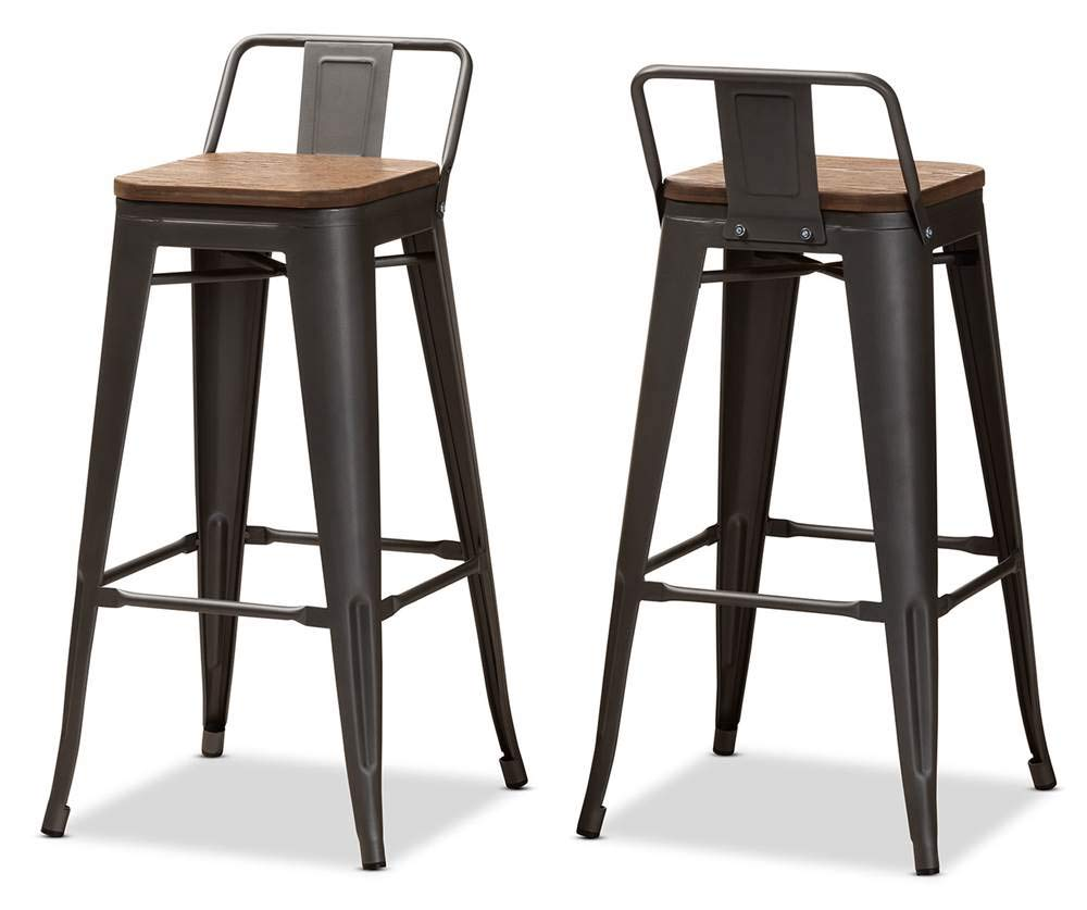 Barstool with Backrest in Gunmetal Gray and Oak Brown – Set of 2
