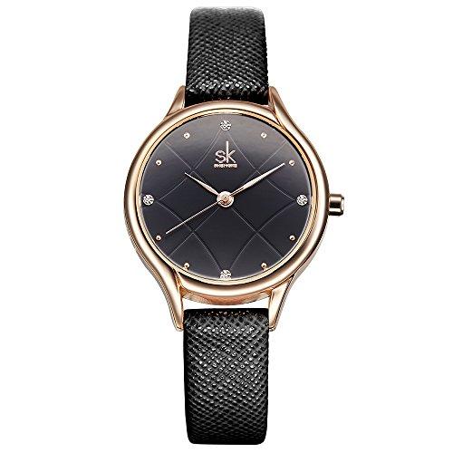 Diamond Quality Watch (SK Woman Fashion Quartz Watch Elegant Diamond Wristwatch Girls Ultra-thin Waterproof Wrist Watches (8013 Black))