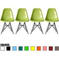 2xhome - Set of Four (4) - Green - Eames Style Side Chair Black Eiffel Base Dining Room Chair - Lounge Chair No Arm Arms Armless Less Chairs Seats Black Wire Legs