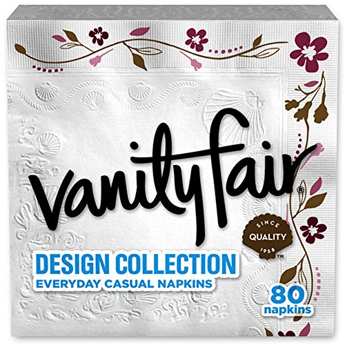Vanity Fair Design Collection Napkin, 80 Count, Printed Napkin
