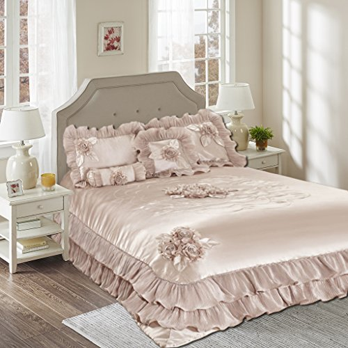 (Tache Home Fashion 1260-Q Luxury Champagne Victorian Wedding Satin Ruffles Bedding Comforter Set, Queen, Beige)