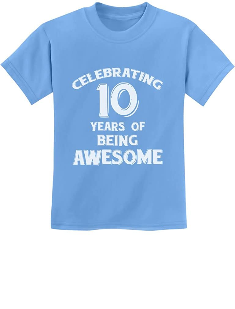 10 Years Of Being Awesome Birthday Gift For Year Old Youth Kids T Shirt GZrrtZPgm
