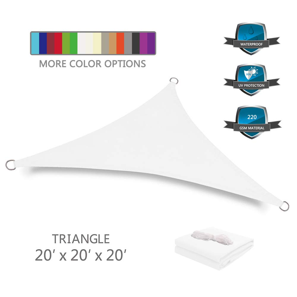 Tuosite Terylene Waterproof Sun Shade Sail UV Blocker Sunshade Patio Equilateral Triangle Knitted 220 GSM Block Fabric Pergola Carport Awning 20' x 20' x 20' in Color White
