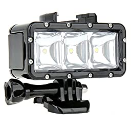 WiserElecton Flash Fill LED Night Light Underwater 30m Waterproof Light Mount Kit for Gopro Hero 4 3+ 3 2 1 Housing Lens Action Camera +1050mAh Rechargeable Battery+Charging Cable+Quick Release Buckle Mount+Thumbscrew Screw Wrench work with headstrap hand