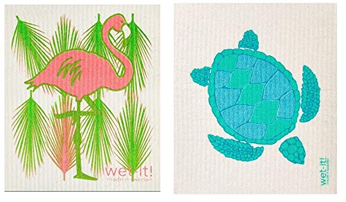 Wet-It Flamingo and Turtle Swedish Kitchen Bathroom Car Dishcloths Towel Cloth Set of 2