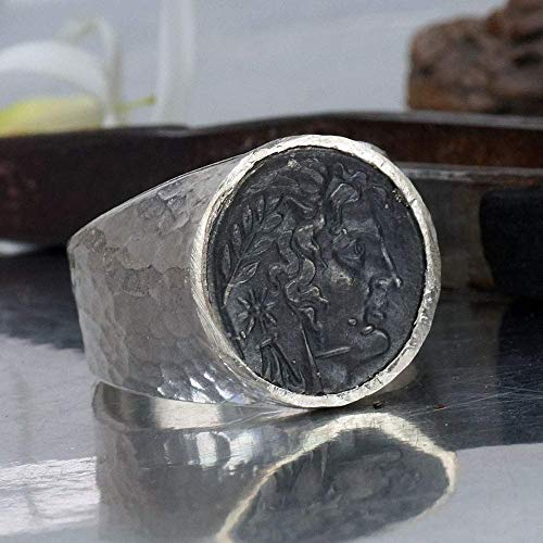 925 Sterling Silver Bold Collection By Omer Blackened Alexander Coin Men's/Unisex Ring Hammered Handmade