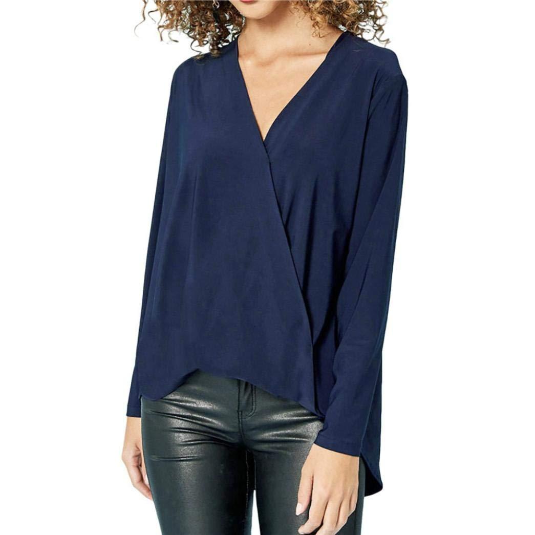 ❤ Blusa para Mujer de Manga Larga de Gasa, Camiseta sólida de Moda Office Ladies con Cuello en V Top Absolute: Amazon.es: Ropa y accesorios