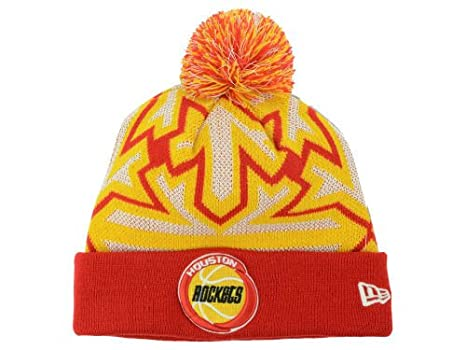 261a629e6d4 Amazon.com   New Era Houston Rockets Knit Cuff Beanie w  Pom Hat One Size  Fits All Glowflake Red   Gold   White Hat - Glow In The Dark   Sports    Outdoors