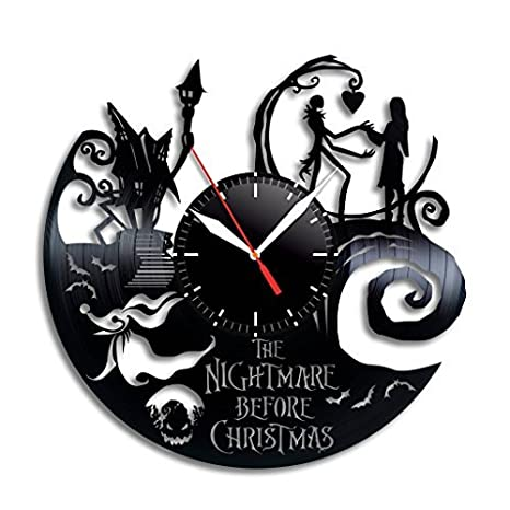 Taniastore Nightmare Before Christmas Art Design Vinyl Record Wall Clock Unique Gifts For Him Her Gift Ideas For Mothers Day Father Birthday