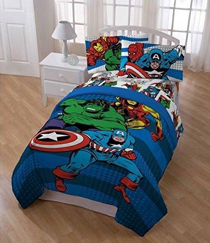 6pc Boys Blue Marvel Superhero Themed Comforter Full Set, Hero Characters Captain American Hulk Iron Man Spiderman, Horizontal Striped Comic Super Action Movie Heros Character Bedding