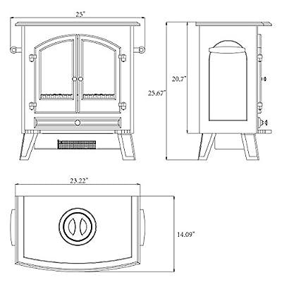 "Golden Vantage 25"" 1500W Freestanding Portable Adjustable Insert Electric Fireplace Stove Heater 5200 BTU w/ Remote"