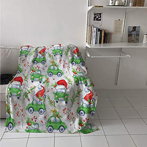 Maisi Custom Design Cozy Flannel Blanket, Noel New Year Celebrations Christmas Composition with Green Cars Santa Hats, Oversized Travel Throw Cover Blanket 70x60 Inch Lime Green Scarlet
