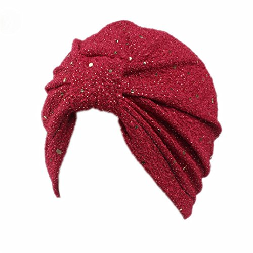 Hongxin Hot Sale Women Hat Cap Scarf Cancer Hat Paillette Sequins Turban Muslim Ruffle Head Skullies Bonnet Chimio Coton Creative Gift (Red)