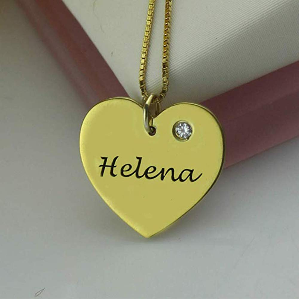 Personalized Customizable Name JinYin Heart-shaped Silver Pendant Necklace With Birthstone