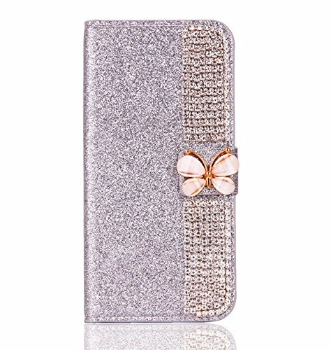 Superstart Silver iPhone 6/6s 3D Handmade Beauty Butterfly Rhinestone Diamond Case for iPhone 6/6s Bling PU Leather Flip Stand Credit Card Wallet Cove…