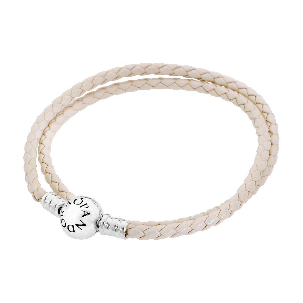 Pandora Women's 13.8in Bracelet White Braided Leather Jewelry 590745CIW-D1