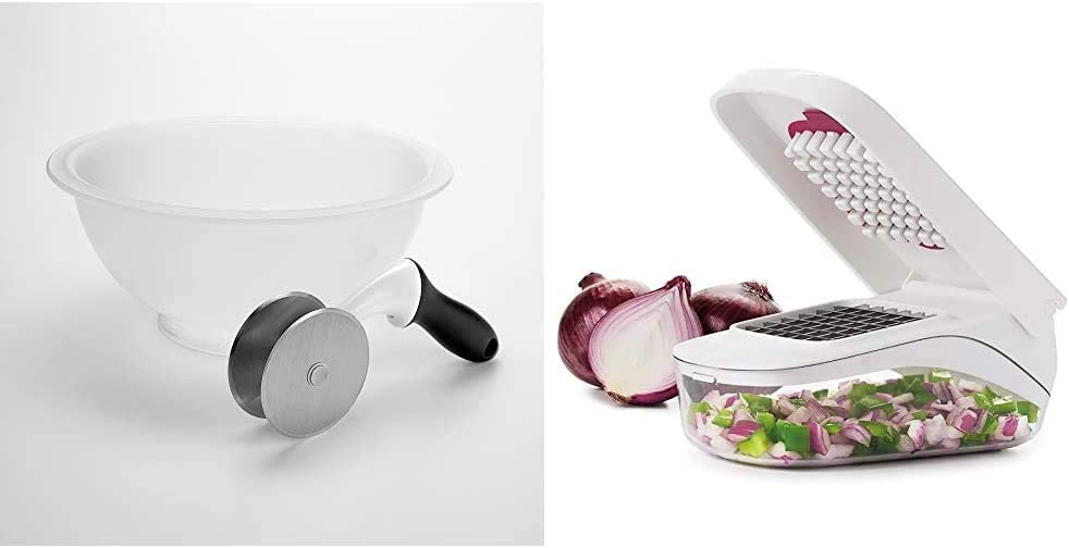 OXO Good Grips Salad Chopper & Bowl, 12.5 x 5.5 x 12.5 inches, White & Good Grips Vegetable and Onion Chopper with Easy Pour Opening,White,One Size