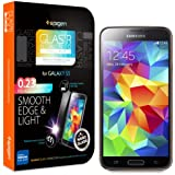 Spigen? Samsung Galaxy S5 Screen Protector Glass [GLAS.tR NANO SLIM] (0.23mm) Thin Lightweight Rounded Edge Tempered Glass Screen Protector Clear for Galaxy S5 / Galaxy SV / Galaxy S V (2014) - GLAS.tR NANO SLIM (SGP10727)