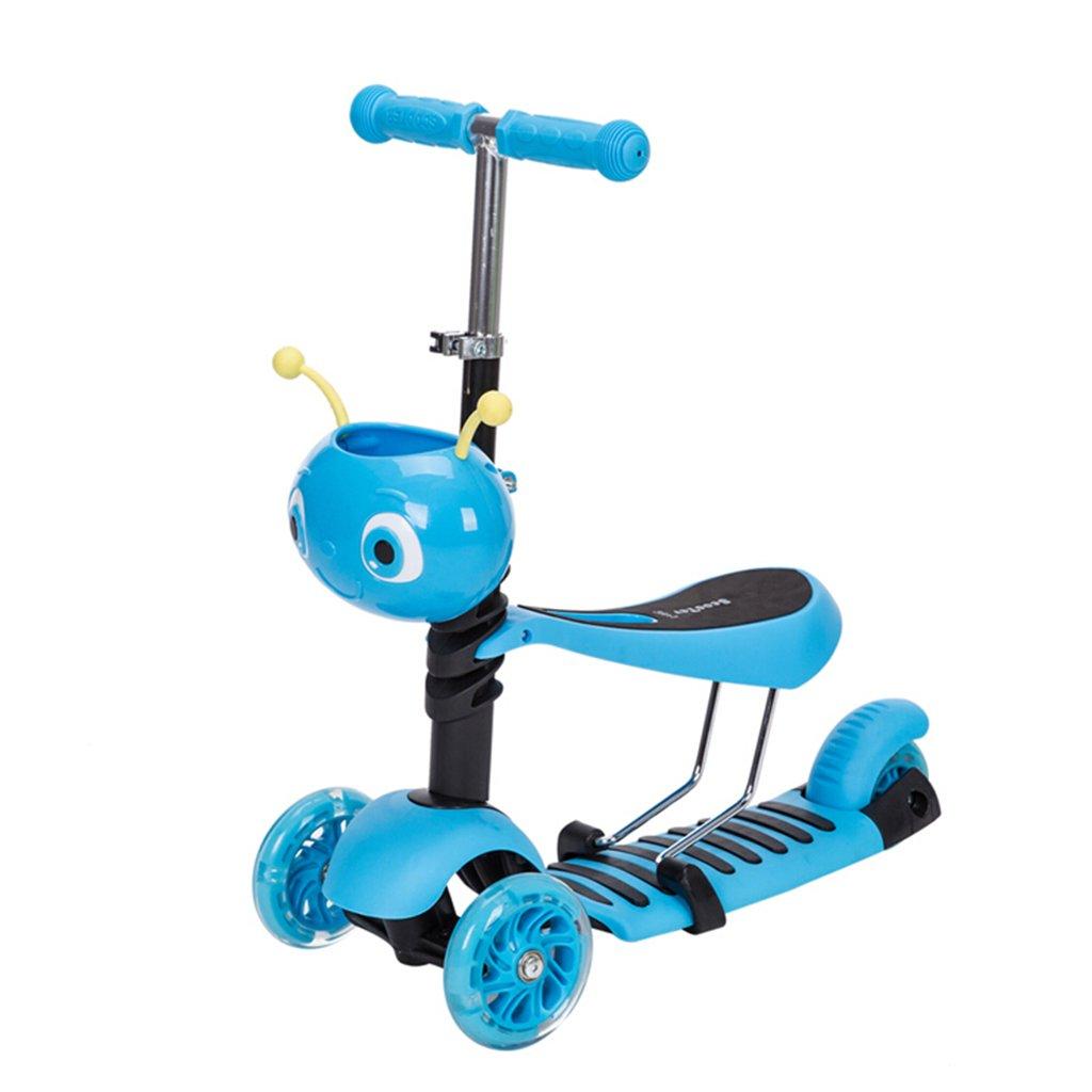 2018セール 子供のスクーター折り畳み式多機能ウォーカー折りたたみ三輪式ライダープーリーリフト可能な取り外し可能な2-12歳 B07FZ4RCXM B07FZ4RCXM Blue Blue Blue, シルバーショップ oseney:9b517655 --- a0267596.xsph.ru