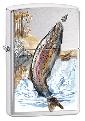 Zippo Lighter: Rainbow Trout Fishing - Brushed Chrome 78267