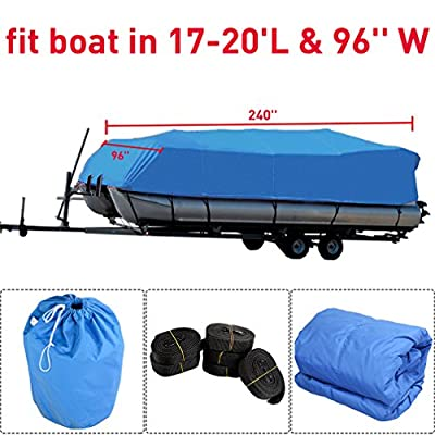 Graspwind Fabric Trailerable Pontoon Boat Cover Durable 600D Oxford Waterproof Heavy Duty Storage Tool Accessories-Marine Grade Polyester Canvas Fits for 21-24 Ft Length Boats