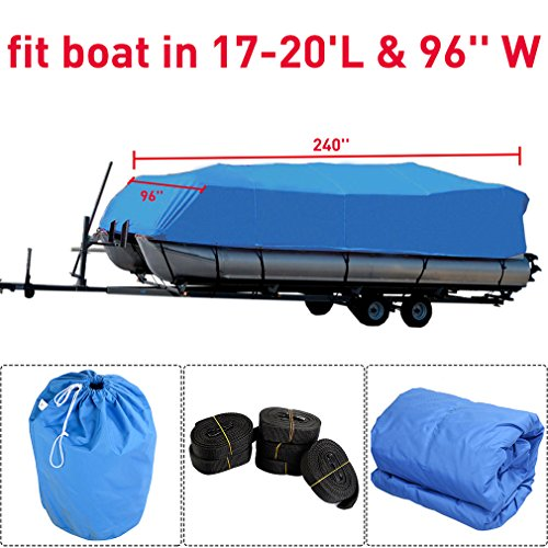 Max Beam 102' (Heavy Duty 600D Oxford Fabric Waterproof Trailerable Boat Cover with Straps Fits V-Hull,Tri-Hull, Runabout(17-20 ft 600D))