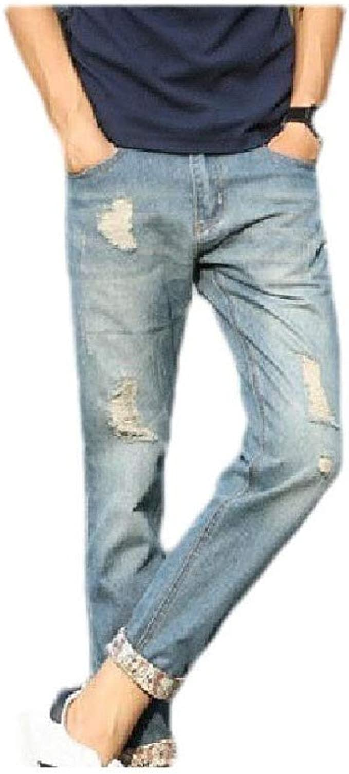 EnergyWD メンズディストレスウォッシュオンブルポケット薄いファッションスリムフィットデニムパンツ