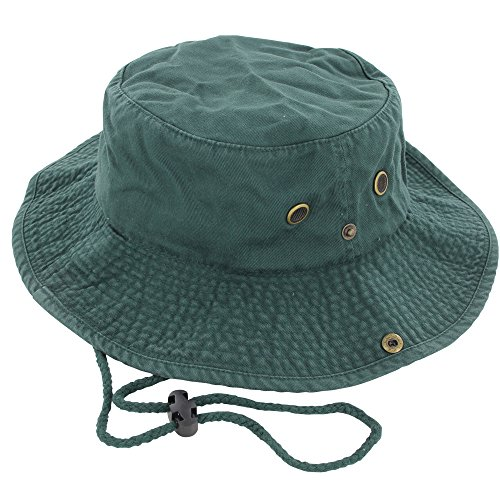 DealStock 100% Cotton Boonie Fishing Bucket Men Safari Summer String Hat Cap (15+ Colors) Dark Green - Hat Patagonia Bucket