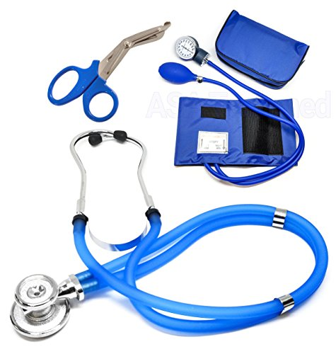 Dial Blue Alloy Case - ASATechmed Nurse/EMT Starter Pack Stethoscope, Blood Pressure Monitor and Free Trauma 7.5